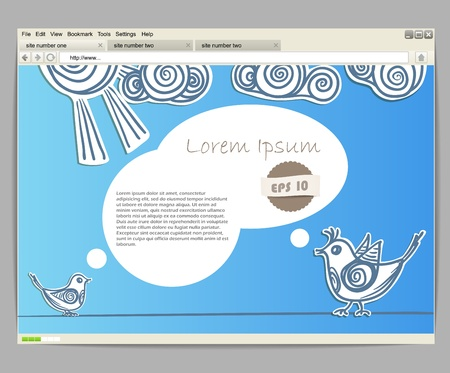 Opened browser window template. Blue site template with birds Vector