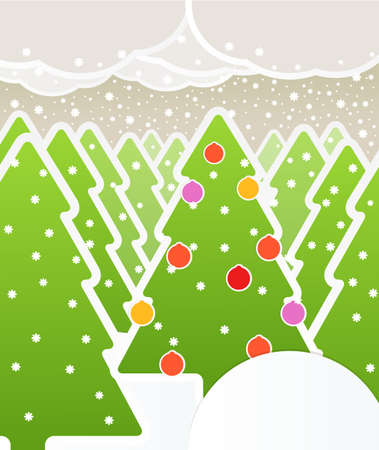 Abstract Christmas forest and snowfall Vector