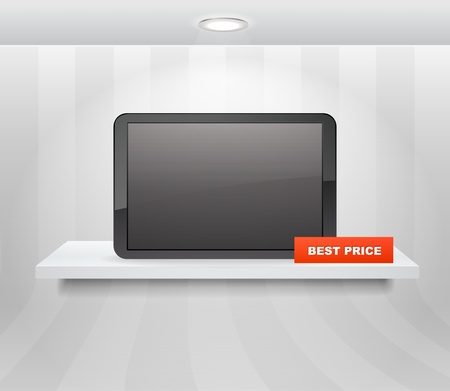 Shopping shelf with electronic device on it Vector