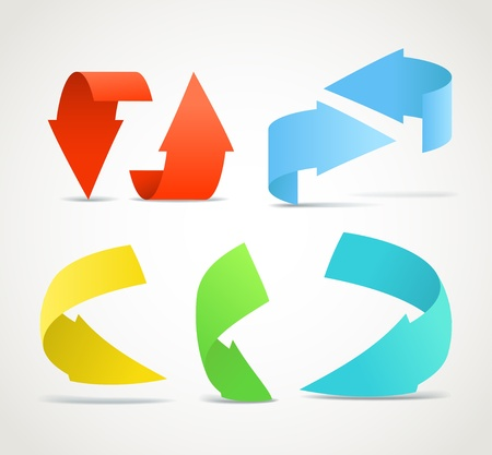 Origami color arrows stickers collection Stock Vector - 11430500