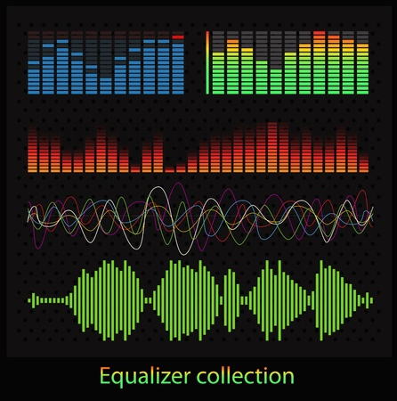 geluid: Grafische equalizer types Stock Illustratie