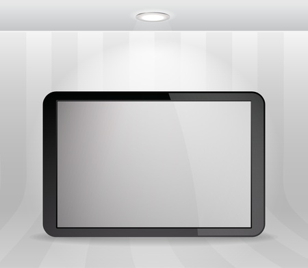 Illuminated wall with modern device Vector