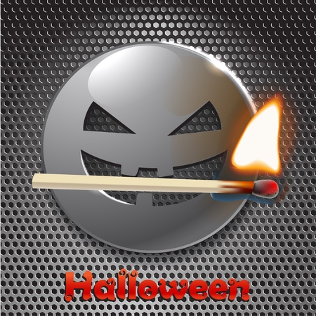 Halloween metal smiling face with fire. ready for your text Stock Vector - 11430878