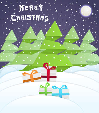 Present boxes near trees in the forest Vector