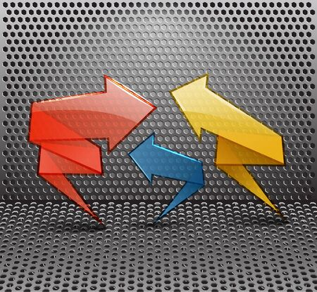 Glass color arrows on metal background Vector