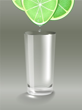 squeeze: Fresh lime juice dripping into the clean glass. illustration, transparent mesh