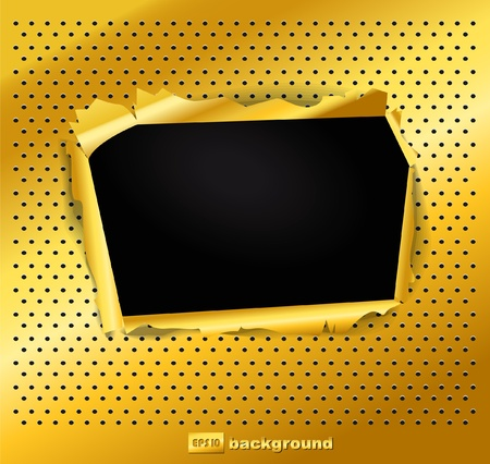 Damaged gold texture with a hole Vector