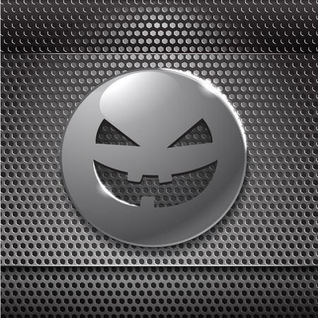 Halloween metal smiling face. ready for your text Vector