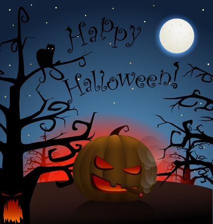 Happy Halloween. Celebration poster of smoking pumpkin in a dark forest Vector