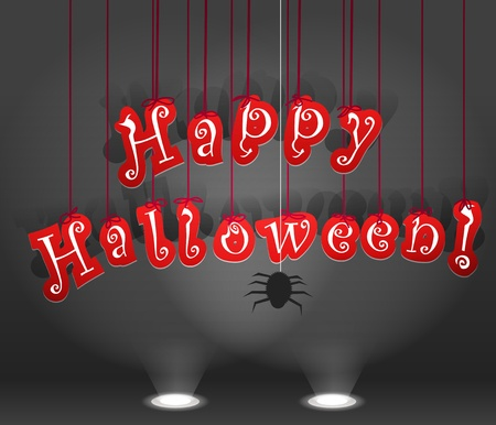 Happy Halloween. Celebration poster of paper letters Vector