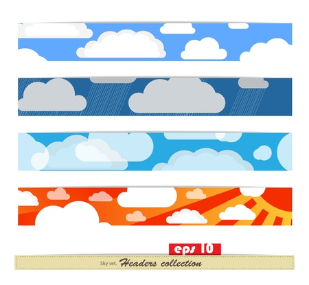 Set of different colorful headers. Ready for a text or another content Vector