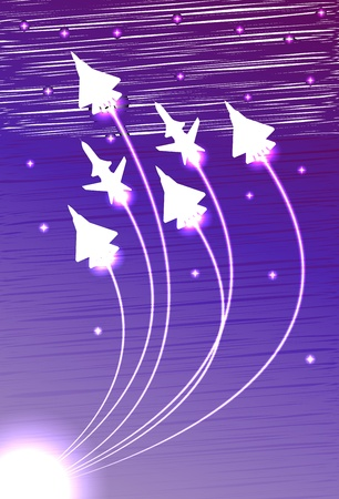 space wars: Flying jets group with the stars Illustration