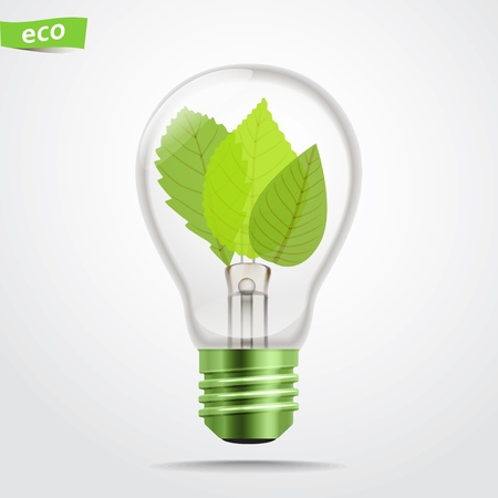 saver: Green energy lamp  Illustration