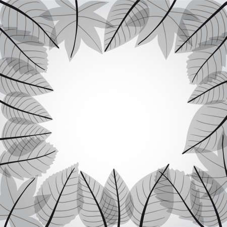 Grey leaves frame. Ready for a text Stock Vector - 11430573