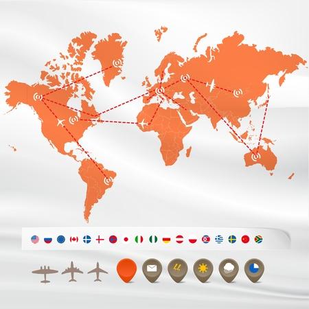 trajectoire: Carte avec l'infographie de vol: des drapeaux et des ic�nes