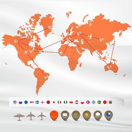 world market: Map with flight infographics: flags and icons Illustration