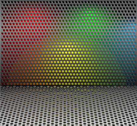 black floor: Metal grill net background with colorful backlights