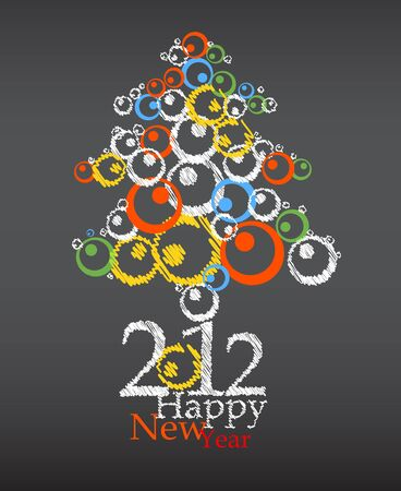 New year abstract tree  Illustration