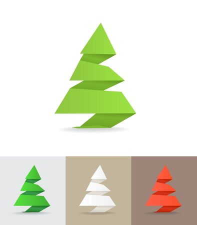 Christmas tree origami set Stock Vector - 11430526