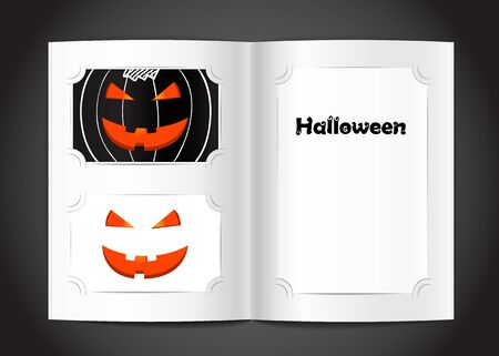 Photo album with Happy Halloween congratulations Vector
