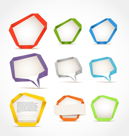 web side: Colorful polygonal origami speech clouds. Place your text here Illustration