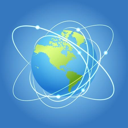 trajectoire: Terre et les trajectoires des satellites Illustration