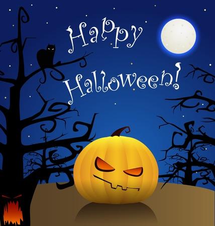 Happy Halloween. Celebration poster of yellow pumpkin in a dark forest Vector