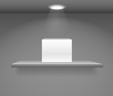 White box on a book shelf on dark wall Vector