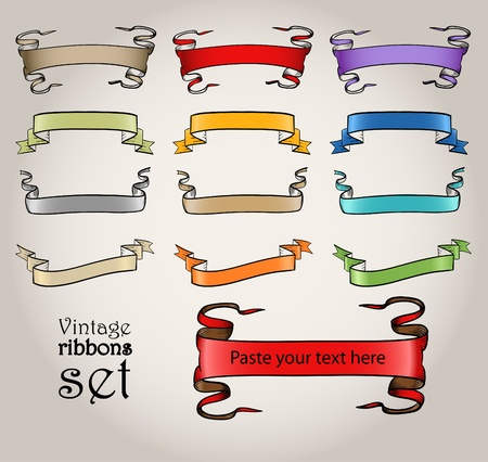 Colorful vintage vector ribbons set Vector