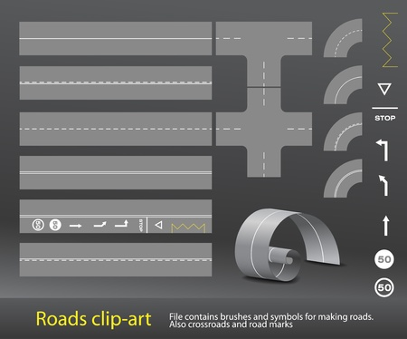 road line: Different roads and marks Illustration