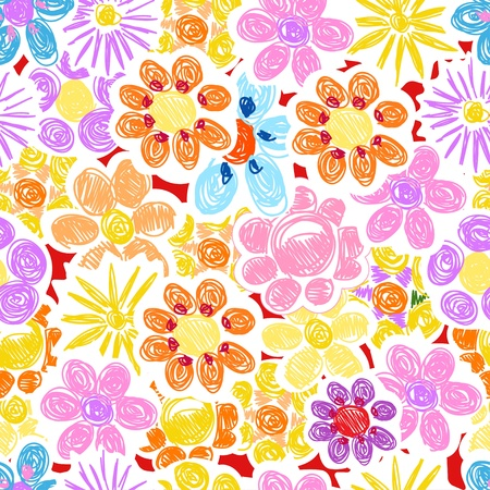Abstract decorative flowers seamless background Vector