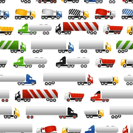 Different types of trucks seamless background Vector