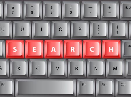 Keyboard with red search buttons Vector