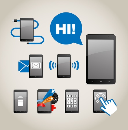 voice mail: Phone icons Illustration