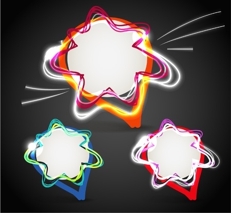 Glowing talking hand-made bubbles group. Ready for a text Stock Vector - 11430748