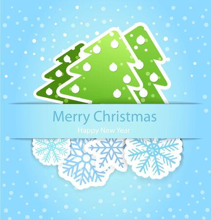 Happy new year greeting card with paper flakes and christmas trees Stock Vector - 11430981