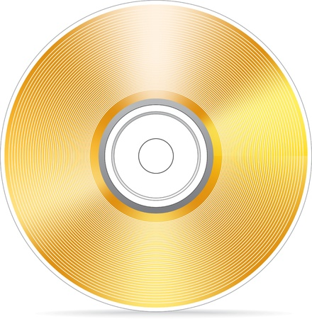 gold record: Golden compact disc illustration Illustration