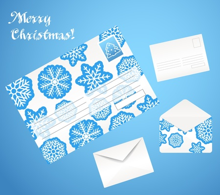 Christmas envelope set. Front and back sides. Open and closed  Vector