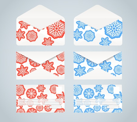 Christmas envelopes collection. Front, back and opened Vector