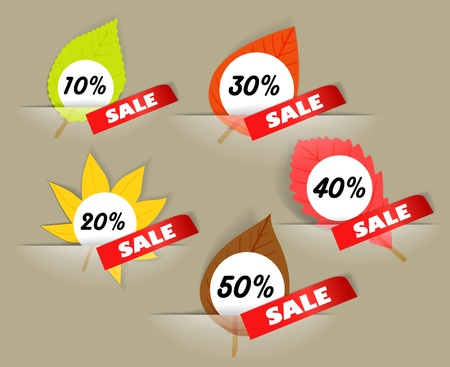 Autumn sale stickers in a pockers collection Vector