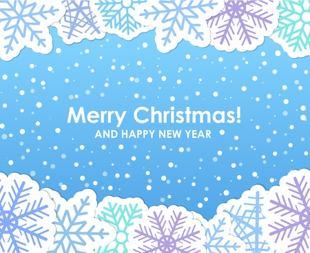 Blue christmas greeting card with paper flakes Stock Vector - 11430930