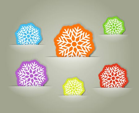 Color christmas flakes in a pocket collection Vector