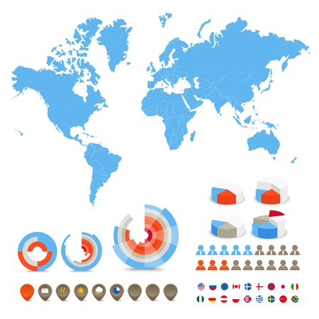 world market: Infographics. World map, flags of different countries and diagrams and icons
