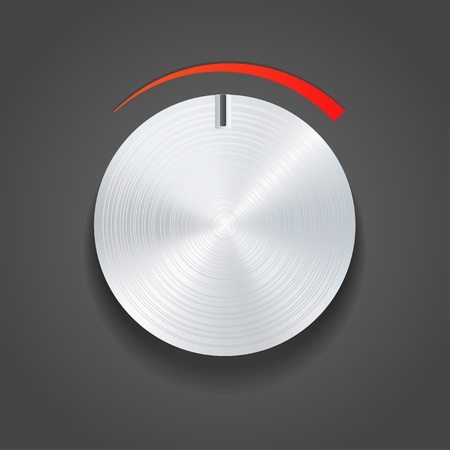 botones musica: Selectores de metal vector Vectores