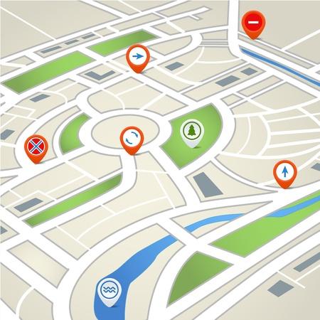 Perspectief achtergrond van abstracte plattegrond van de stad met symbolen