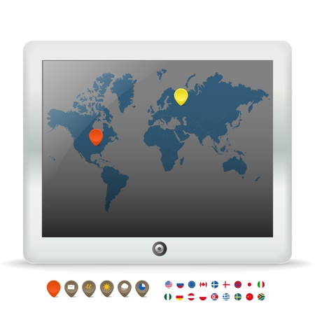 pictogramm:  Modern touch gadget with world map  Illustration