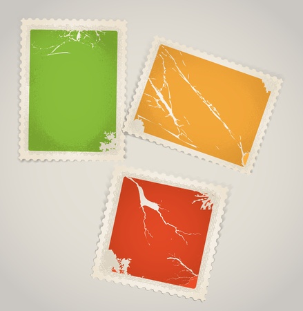 paperclip: Vintage color post stamps template clip-art