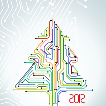 Abstract metro scheme christmas card Vector