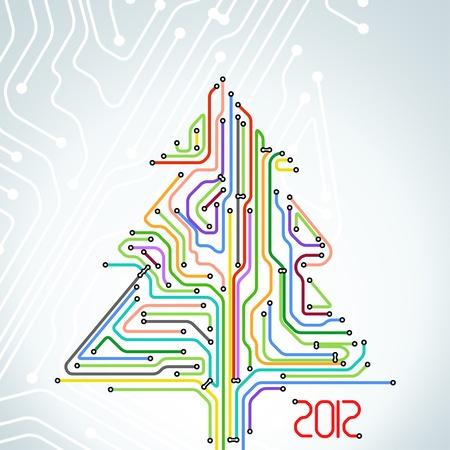 Abstract metro scheme christmas card Stock Vector - 11430891
