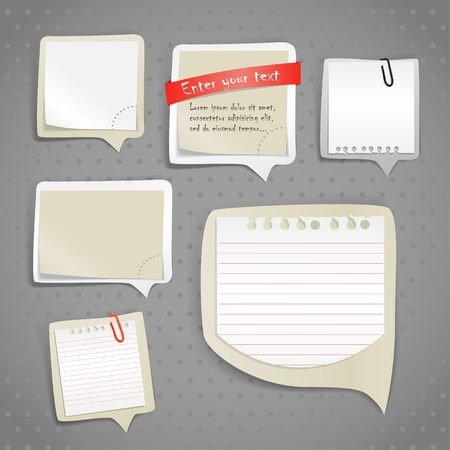 memo board: Paper text bubbles clip-art Illustration